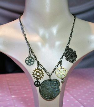 Steampunk gold pocket watch and cog necklace