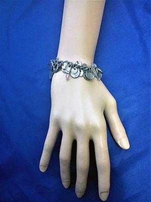 Steampunk silver charm coin bracelet
