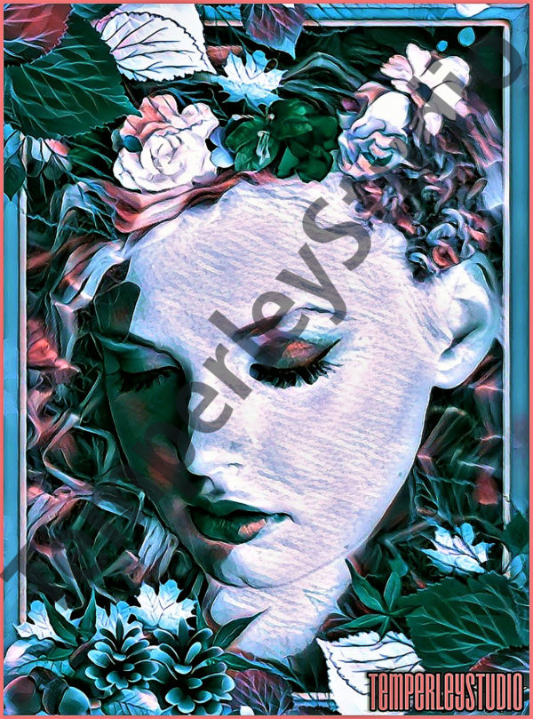 set in a surreal art nouveau setting, vibrant and floral