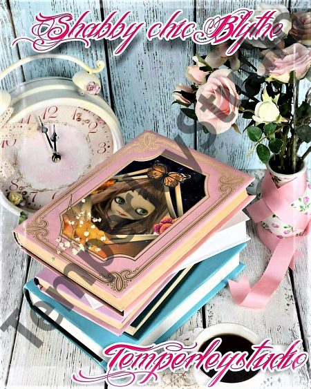 Blythe doll in a book, vase and flowers setting