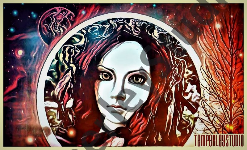 Vibrant autumn scene with a doll face set in the moon
