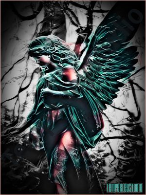 Gothic angel in mysterious lands