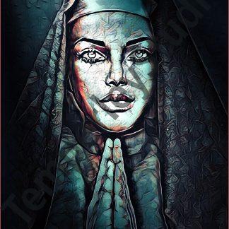 Gothic nun in prayer