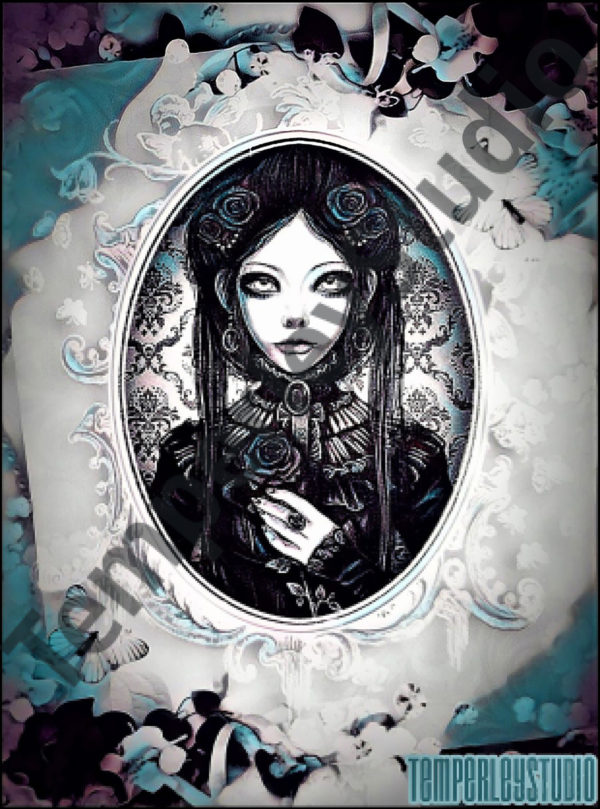 Gothic lolita doll in a cameo