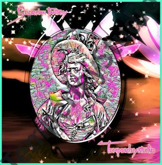 Vibrant cameo lady in flowers