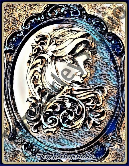 Steampunk lady cameo rustic look