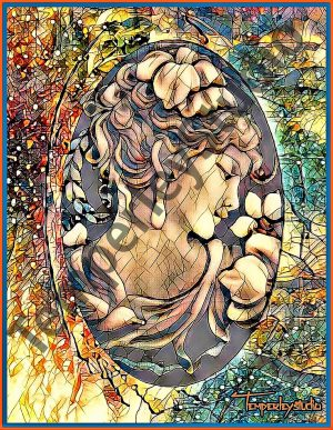 Stained glass powdered lady cameo