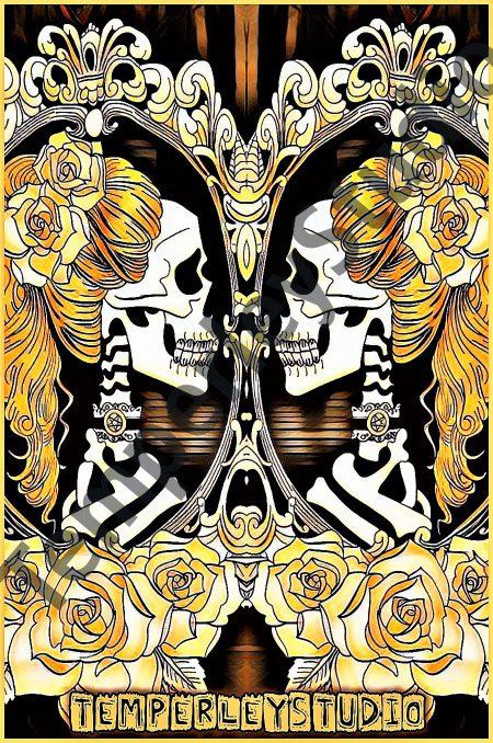 Skeleton steampunk twins