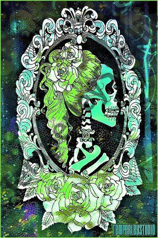 Gothic colour pop skeleton lady cameo