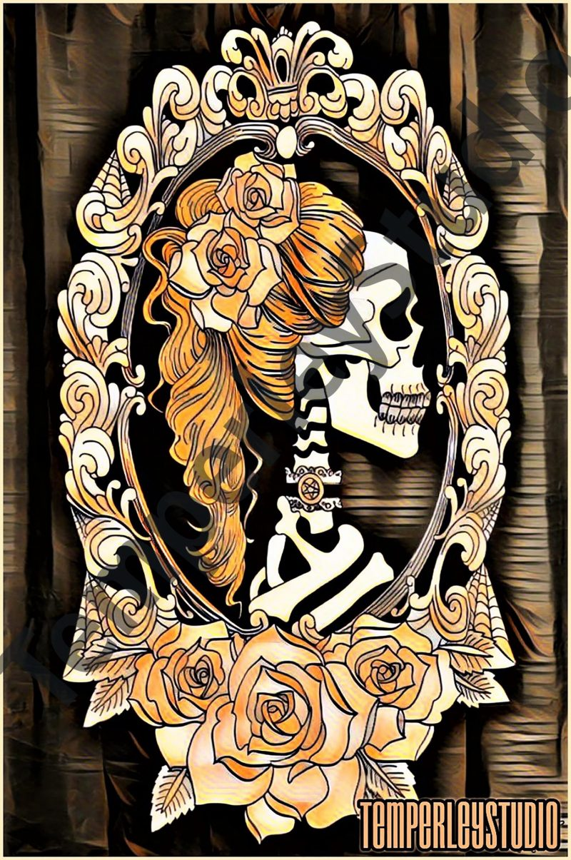 Steampunk skeleton lady and rose cameo