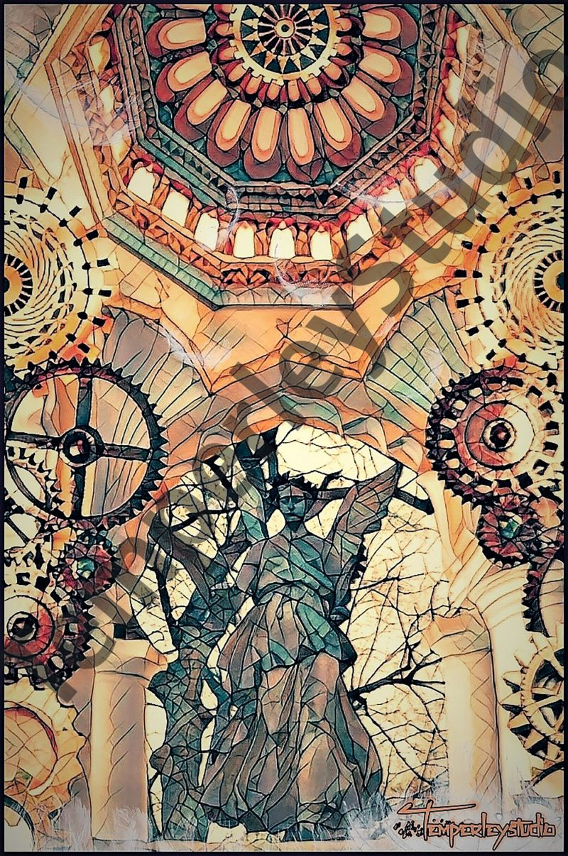 Steampunk cathedral angel