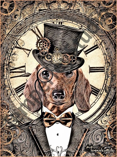 Steampunk Dachshund and clock