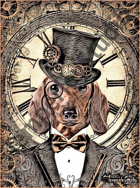 Steampunk Dachshund and clock