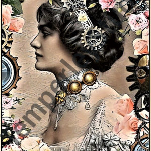 Steampunk chic maiden flowers and cogs
