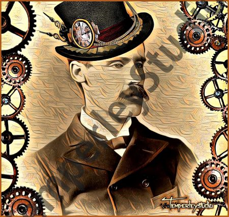 Steampunk gentleman in hat and suit