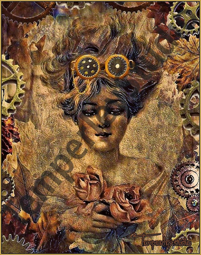 Steampunk googles girl with flowers