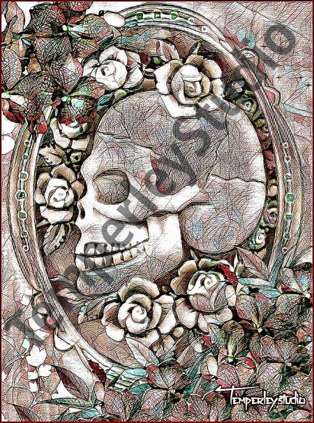 Steampunk skeleton and roses cameo