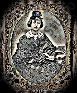 Daguerreotype steampunk cameo-art lady