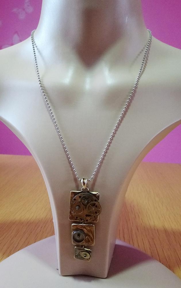 Steampunk 3 tier tile cog pendant