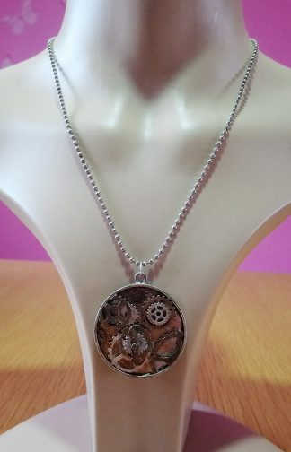 Steampunk round 3D cog pendant