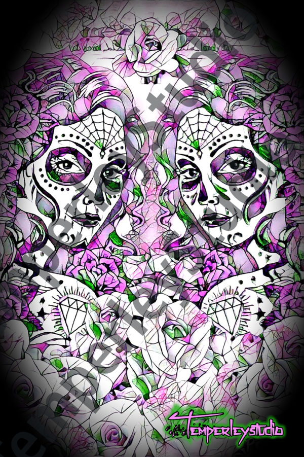 Day of the dead twins in purple cameo