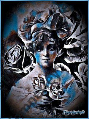 Dreaming victorian maiden in moonlight w