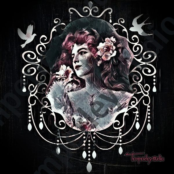 Gothic chandelier cameo lady
