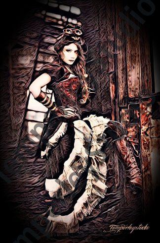Steampunk textured girl