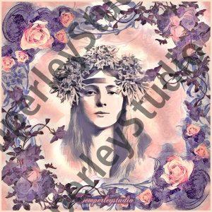 Shabby boho girl in floral frame