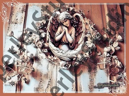Shabby chic angel in a rustic frame