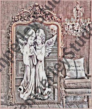 Shabby chic angel in rustic mirror scene
