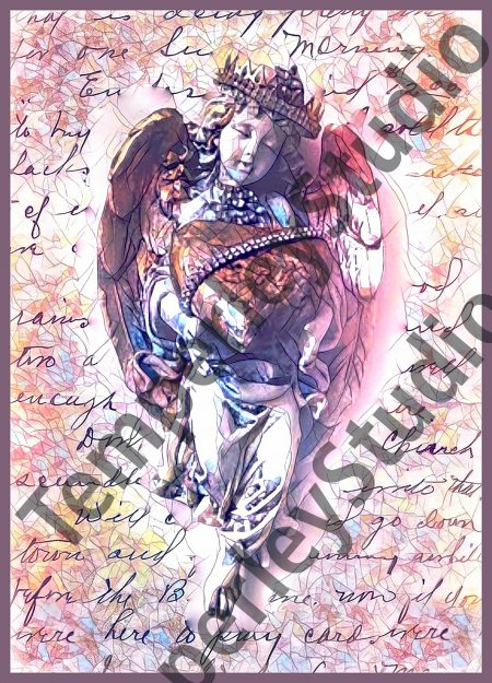 Shabby chic cherub in print