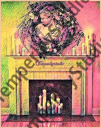 Shabby chic gradient lady fireplace setting