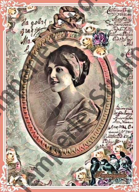 Shabby chic lady in a floral and bird cameo scene