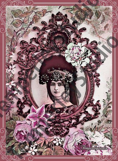 Shabby Lolita cameo girl in peony rose