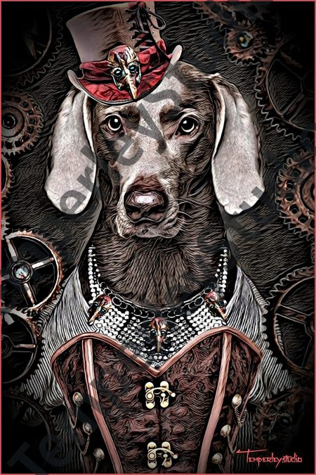 Steampunk dog in corset