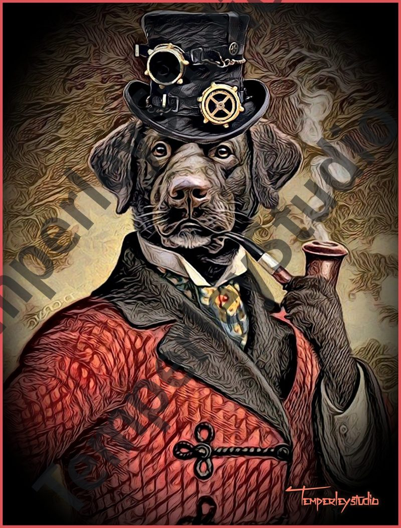 Steampunk dog in gentleman and pipe