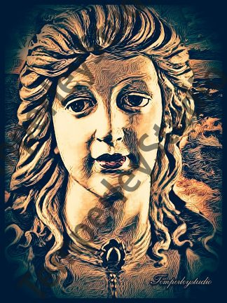 Steampunk textured lady bust 3