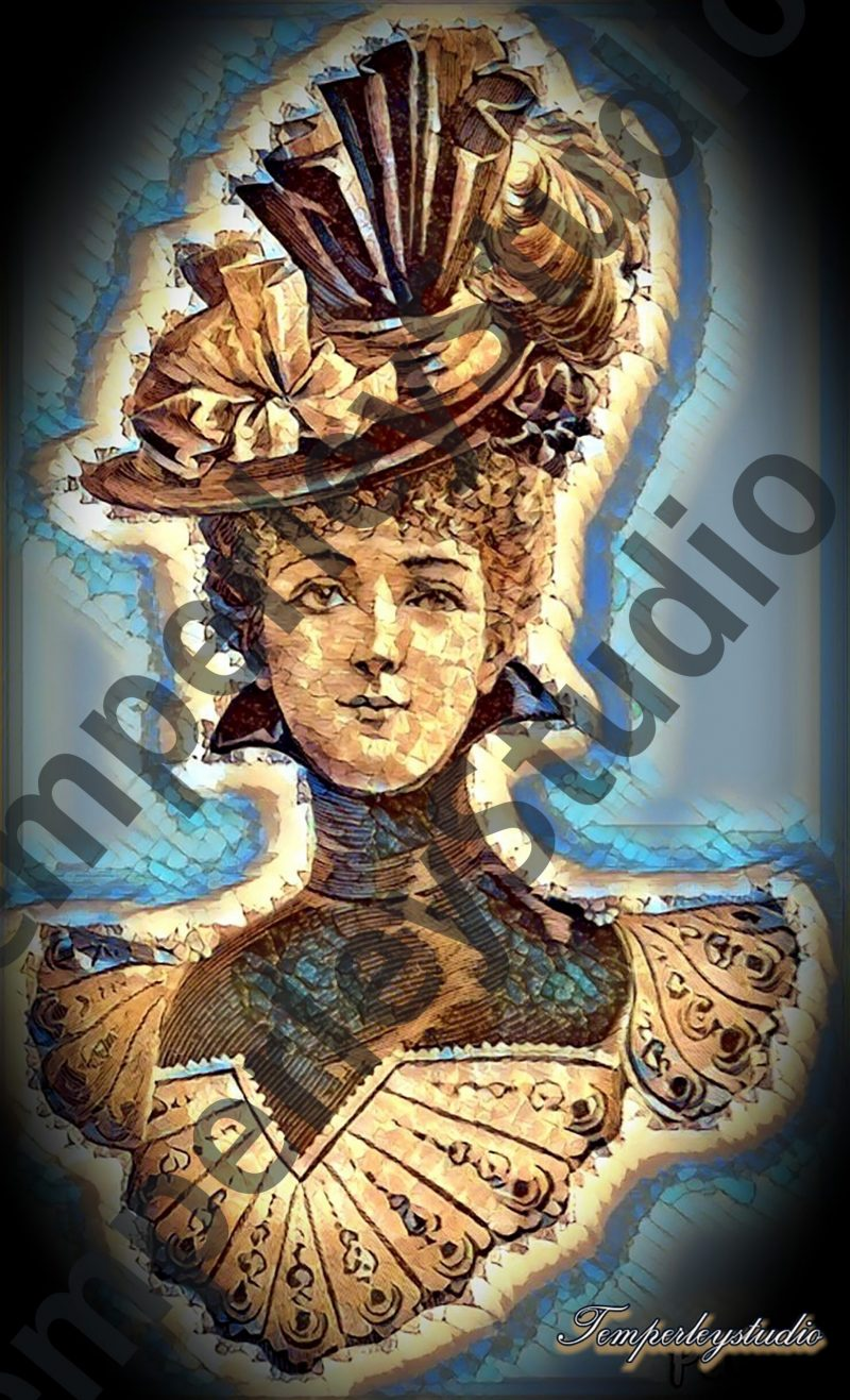 Steampunk textured lady bust