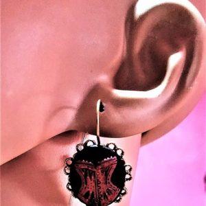 Gothic Steampunk burlesque corset cameo earrings