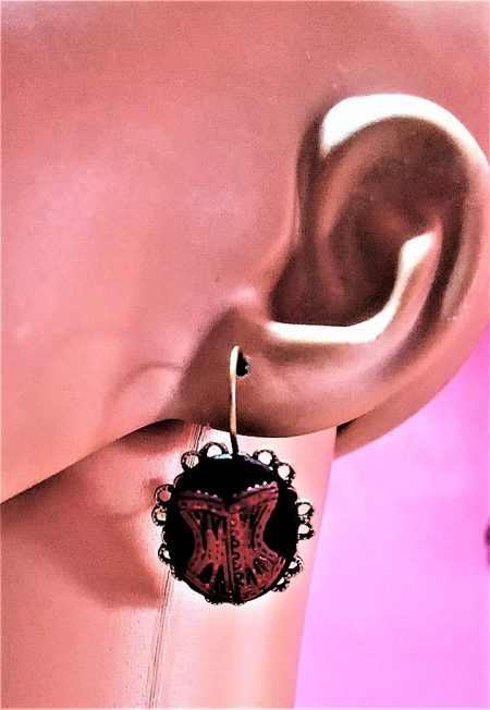 Gothic Steampunk burlesque corset cameo earrings