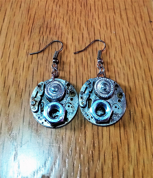 Steampunk silver watch face and cog earrings
