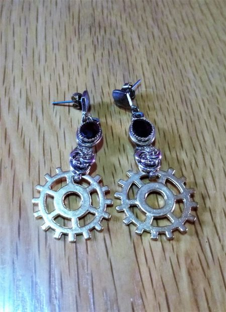 Steampunk black jewelled cameo and cog earrings