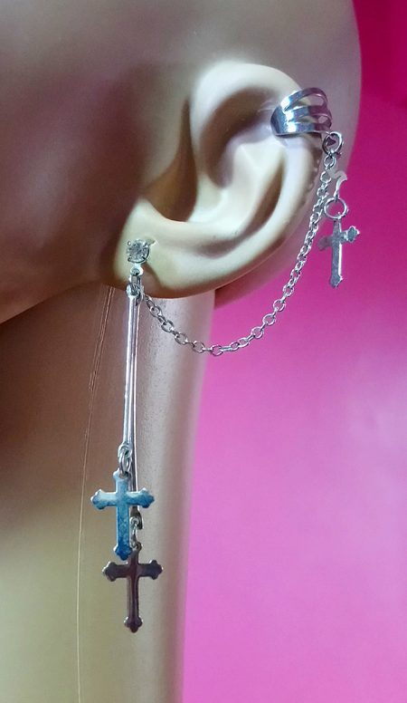 Silver cross and drop chain stud and cuff earring