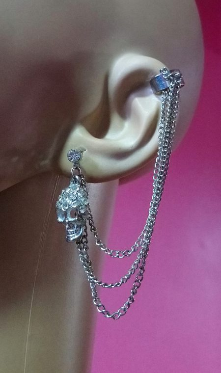 Silver jewelled skull stud and drop chain cuff earring