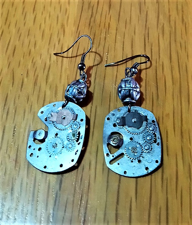 Steampunk silver watch part and patterned bead earrings