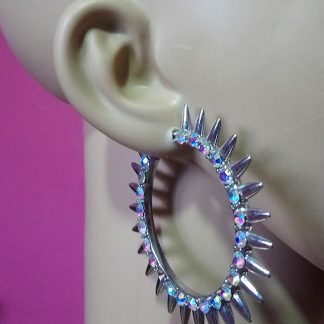 Silver crystal studded spike hoop earrings