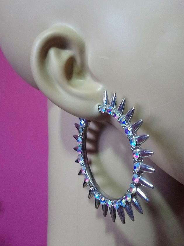 Silver crystal studded spike hoop earrings
