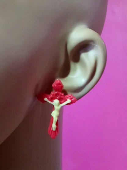 3D red Jesus crucifix stud earrings