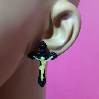 Black Jesus Crucifix 3D stud earrings